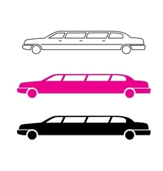 Pink limousine graphic icon sign vector image