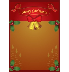 Christmas holiday card with mistletoe and bells vector
