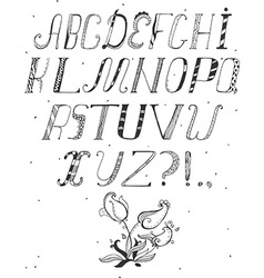 Hand drawn abc letters isolated on white in doodle vector