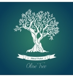 Bottle sticker with olive oil greece tree on it vector