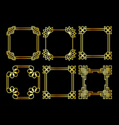 Golden square asian retro frame vector