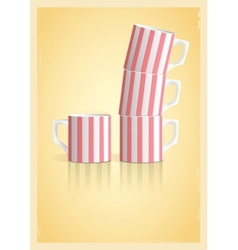 Coffee cups in retro style vector