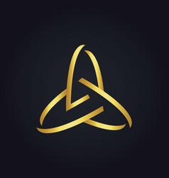 Three circle abstract technology gold logo vector