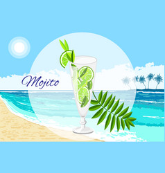 Mojito cocktail on the seaside background vector