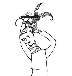 Girl Brushing Hair vector image