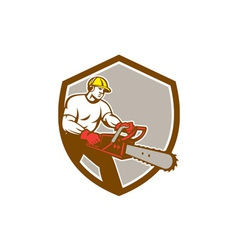 Lumberjack tree surgeon arborist chainsaw shield vector