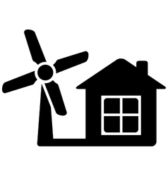 icon with home and wind mill vector image
