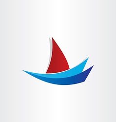 Boat on water stylized icon design vector