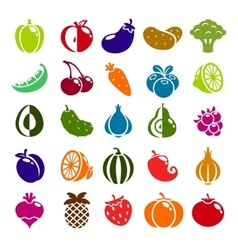 Fruits berries and vegetables color icons vector