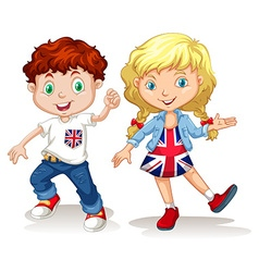 British boy and girl smiling vector