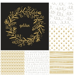 Golden floral wreath and seamless patterns vector