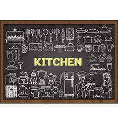 Hand drawn kitchen equipments vector