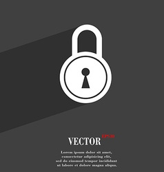 Closed lock symbol flat modern web design with vector