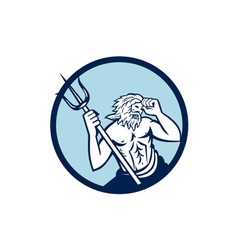 Poseidon trident circle retro vector
