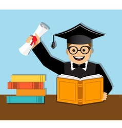 Happy graduate with diploma vector