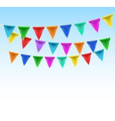 Triangular bunting on rope vector