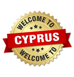 Cyprus 3d gold badge with red ribbon vector