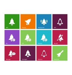 Alarm bell icons on color background vector image