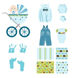 Baby boy elements vector
