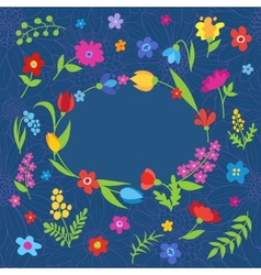 Beautiful greeting card with spring flowers blue vector image
