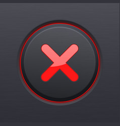 Black cancel button with red cross vector