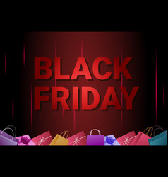 black friday sale banner with shopping bags on vector image vector image