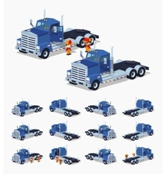 Blue heavy truck vector