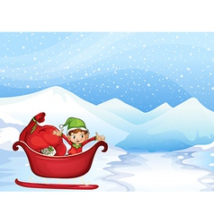 Boy in a sleigh vector image