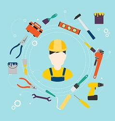 Builder and color tools for repair and home vector