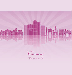 Caracas v2 skyline in purple radiant orchid vector