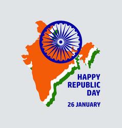 congratulation happy republic day with india map vector image vector image