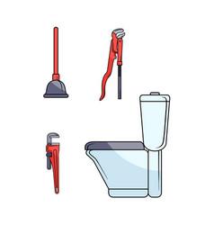 Flat plumbing tools equipment set vector