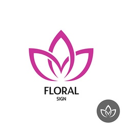 Floral logo with three leaves of linear smooth vector image vector image