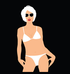 Girl blonde in bikini pose vector