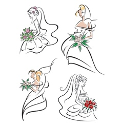 Graceful young bride icons set vector