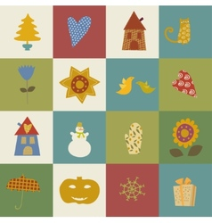 greeting card Happy New Year Christmas eve set vector image vector image