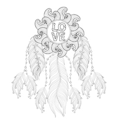 Hand drawn zentangle Dreamcatcher with Love vector image