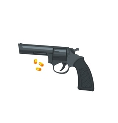 Handgun and three bullets vector
