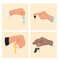 hands holding key apartment selling card design vector image