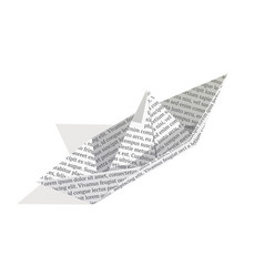 isometric paper boat isolated on white background vector image vector image