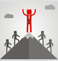leader on a mountain peak business success concept vector image