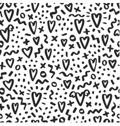 Love doodle background with hearts vector