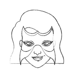 Monochrome blurred contour of woman superhero with vector