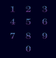 Numbers with ornament vector