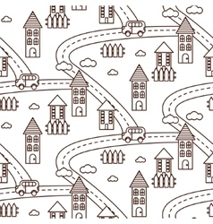 Outline village seamless pattern vector