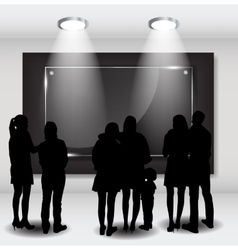 Peoples Silhouettes Looking on the Empty Frame in vector image vector image