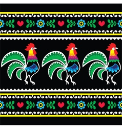Polish folk art pattern with roosters on black vector