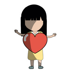 Pretty girl with heart in the hand and dress vector