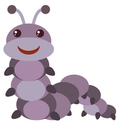 purple caterpillar with happy face vector image vector image