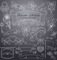 Romantic Collection of Hand Drawn Design Elements vector image vector image
